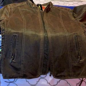 Hard rock leather look jacket